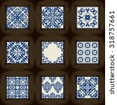 big collection of 9 ceramic... | Shutterstock .eps vector #318757661