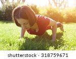 girl doing sports exercise in... | Shutterstock . vector #318759671