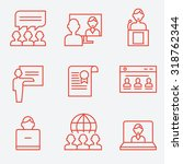 webinar and communication icons ... | Shutterstock .eps vector #318762344