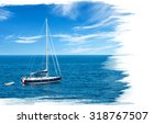 painting of luxury yacht in... | Shutterstock . vector #318767507