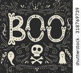happy halloween poster. vector... | Shutterstock .eps vector #318769739