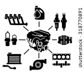 car engine parts icons  | Shutterstock .eps vector #318770891