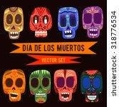 cute skulls set. mexican day of ... | Shutterstock .eps vector #318776534