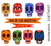 cute skulls set. mexican day of ... | Shutterstock .eps vector #318776537