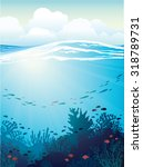 coral reef with school of fish... | Shutterstock .eps vector #318789731