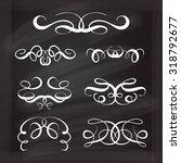 set of elegant white flourishes ... | Shutterstock .eps vector #318792677