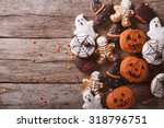 Stock photo funny delicious ginger biscuits for halloween on the table horizontal view from above 318796751