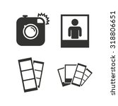 Stock vector hipster photo camera icon flash light symbol photo booth strips sign human portrait photo frame 318806651