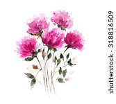 Red Flowers. Watercolor Floral...