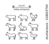 Outline Figures Of Farm Animals.