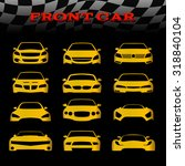 Stock vector yellow front body car and checkered flags vector set design 318840104