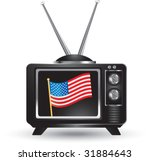 american flag on television... | Shutterstock .eps vector #31884643