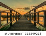 Wood Bridge Over Sunset