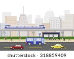 cityscape with train  people... | Shutterstock .eps vector #318859409