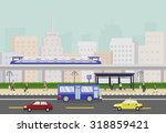 cityscape with train  people... | Shutterstock .eps vector #318859421
