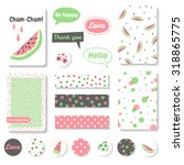 set of bright hand drawn cards... | Shutterstock .eps vector #318865775