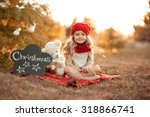 cute kid girl sitting with...   Shutterstock . vector #318866741