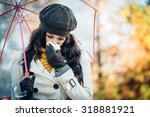 sad woman with cold or flu... | Shutterstock . vector #318881921
