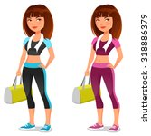 cute cartoon girl in sporty... | Shutterstock .eps vector #318886379