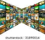 television concept with many... | Shutterstock . vector #31890016