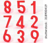 red rubber alphabet number 1 2... | Shutterstock . vector #318900419
