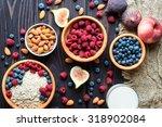 healthy breakfast. bowl of... | Shutterstock . vector #318902084