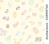 baby icons vector hand drawn... | Shutterstock .eps vector #318909764
