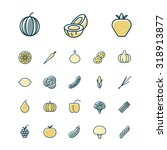 thin line icons for fruits and...