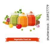 vegetable food jars. baby puree.... | Shutterstock .eps vector #318927779