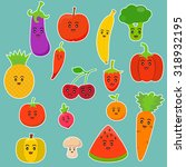 cartoon fruit and vegetables | Shutterstock .eps vector #318932195
