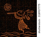 Kokopelli And Sun   Ethnic...