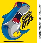 cool cartoon shark vector design | Shutterstock .eps vector #318958829