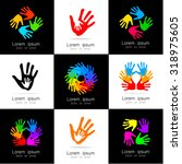 hands   a collection of logo... | Shutterstock .eps vector #318975605