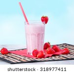 fresh milk  strawberry drink on ...