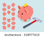 Isometric Piggy Bank. The...