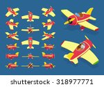 set of the isometric toy planes.... | Shutterstock .eps vector #318977771