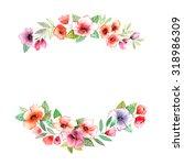 floral wreath. invitation.... | Shutterstock . vector #318986309