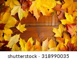 Autumn Leaves Over Old Wooden...