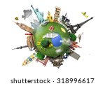small planet with landmarks... | Shutterstock . vector #318996617