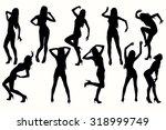 vector silhouettes posing girl. | Shutterstock .eps vector #318999749