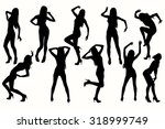 vector silhouettes posing girl.