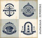 set of vintage nautical labels | Shutterstock . vector #319000361
