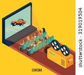 people watching movie in cinema ... | Shutterstock .eps vector #319019504