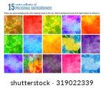 set of 15 poligonal geometric... | Shutterstock .eps vector #319022339