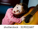 small toddler listening and... | Shutterstock . vector #319022687