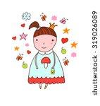 cute little girl wearing a... | Shutterstock .eps vector #319026089
