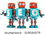 group of vintage robots with... | Shutterstock . vector #319034579