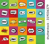 set of comic expressions on... | Shutterstock .eps vector #319036379