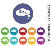 sleeping icons set  on colored...