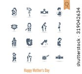 happy mothers day simple flat... | Shutterstock . vector #319042634